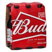 Cerveja Americana Budweiser Long Neck Pack c/ 6un de 343ml