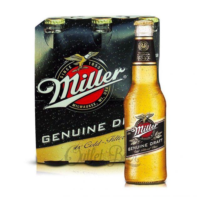Cerveja Americana Miller Long Neck Pack c/ 6un de 355ml