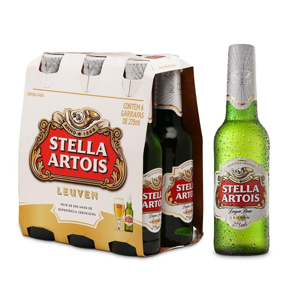 Cerveja Belga Stella Artois Long Neck Pack c/ 6un de 275ml